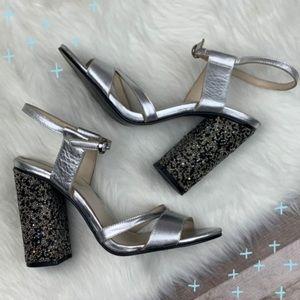 Zara silver sequin block heels size 40/ 9